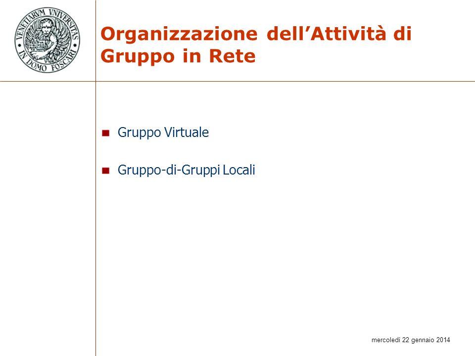 mercoledì 22 gennaio 2014 Organizzazione dellAttività di Gruppo in Rete Gruppo Virtuale Gruppo-di-Gruppi Locali
