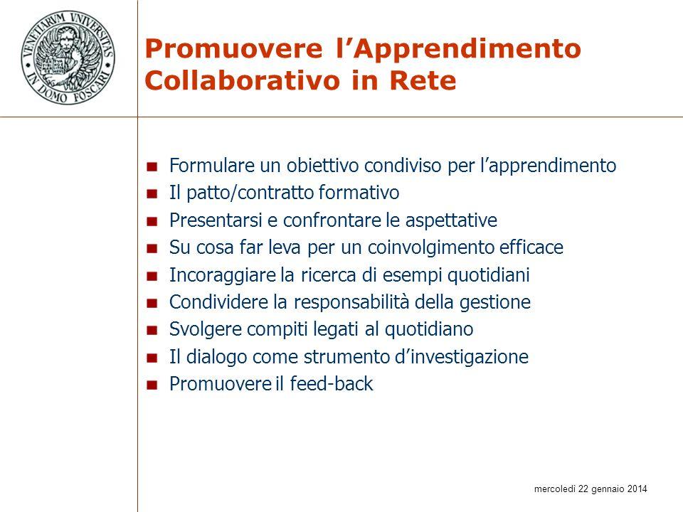 mercoledì 22 gennaio 2014 Promuovere lApprendimento Collaborativo in Rete Formulare un obiettivo condiviso per lapprendimento Il patto/contratto forma
