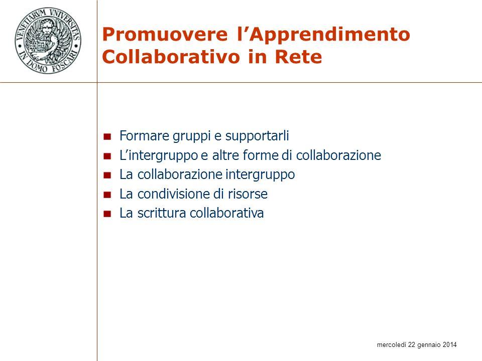 mercoledì 22 gennaio 2014 Promuovere lApprendimento Collaborativo in Rete Formare gruppi e supportarli Lintergruppo e altre forme di collaborazione La