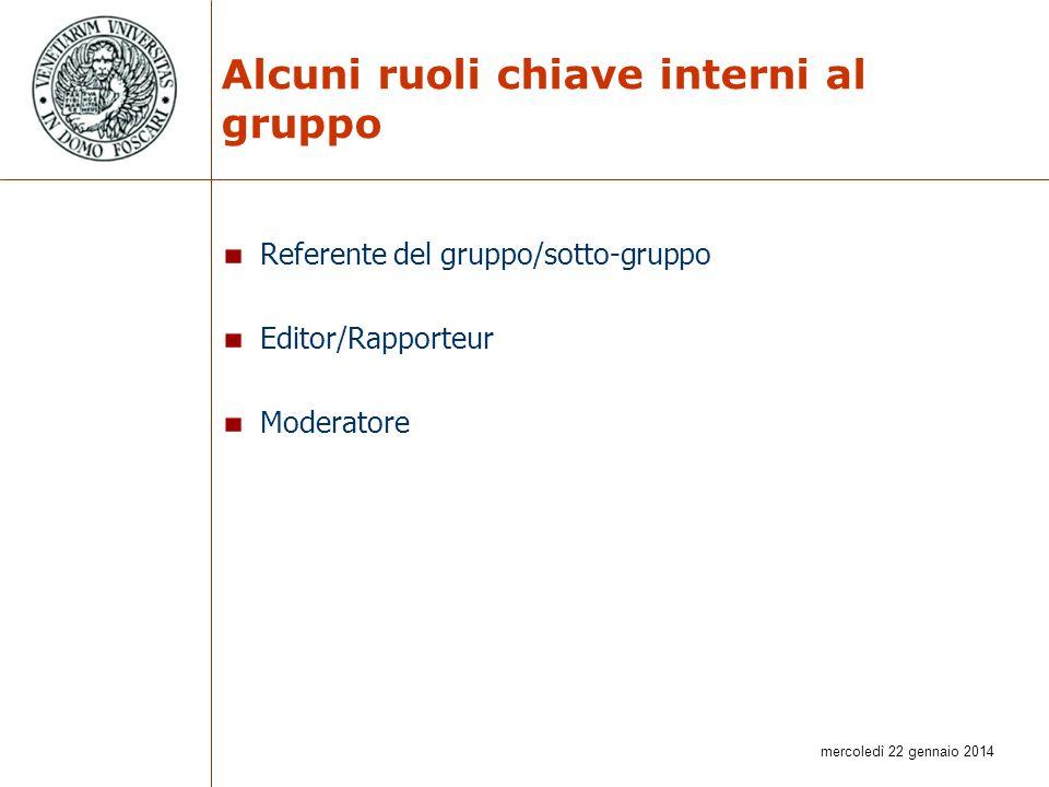 mercoledì 22 gennaio 2014 Alcuni ruoli chiave interni al gruppo Referente del gruppo/sotto-gruppo Editor/Rapporteur Moderatore