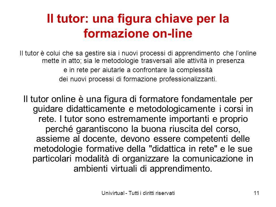 Univirtual - Tutti i diritti riservati11 Il tutor: una figura chiave per la formazione on-line Il tutor è colui che sa gestire sia i nuovi processi di