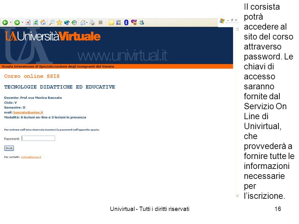 Univirtual - Tutti i diritti riservati16 Il corsista potrà accedere al sito del corso attraverso password. Le chiavi di accesso saranno fornite dal Se