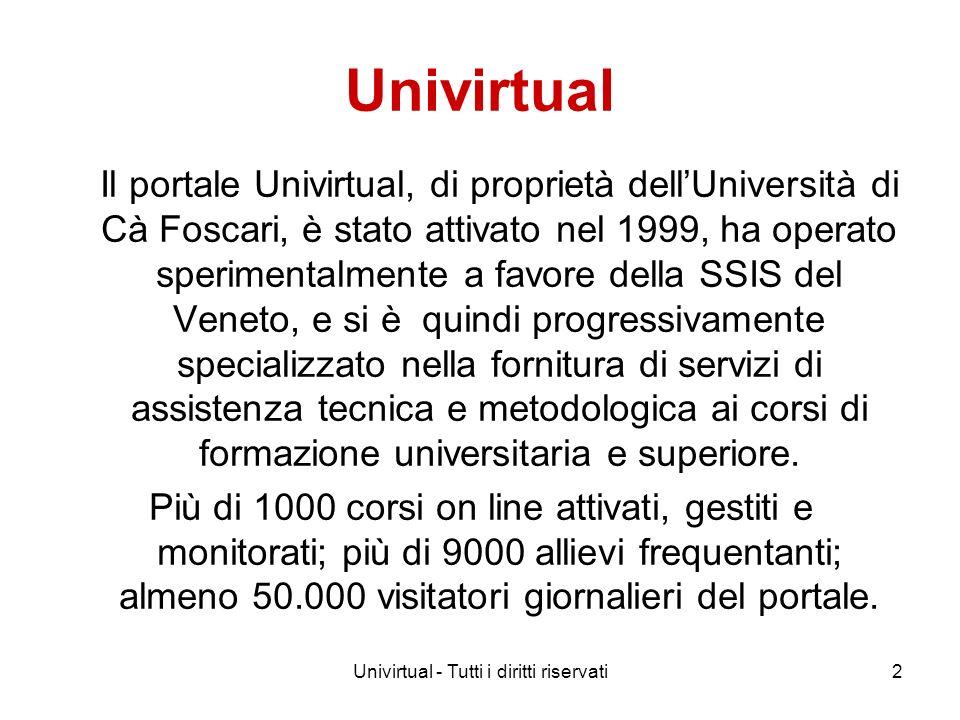 Univirtual - Tutti i diritti riservati2 Univirtual Il portale Univirtual, di proprietà dellUniversità di Cà Foscari, è stato attivato nel 1999, ha ope