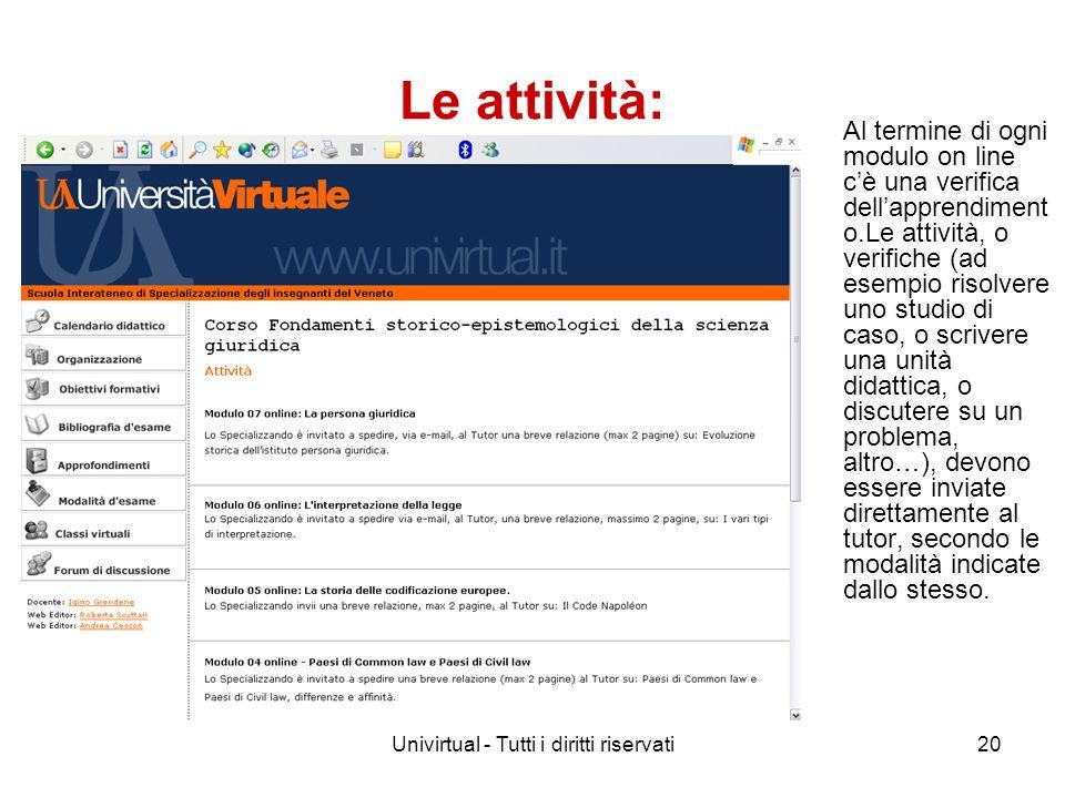 Univirtual - Tutti i diritti riservati20 Le attività: Al termine di ogni modulo on line cè una verifica dellapprendiment o.Le attività, o verifiche (a
