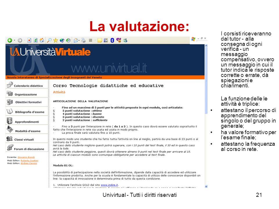 Univirtual - Tutti i diritti riservati21 La valutazione: I corsisti riceveranno dal tutor - alla consegna di ogni verifica - un messaggio compensativo