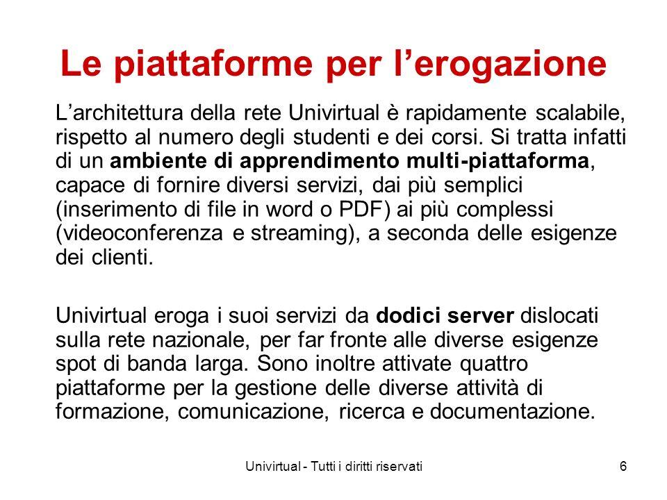 Univirtual - Tutti i diritti riservati6 Le piattaforme per lerogazione Larchitettura della rete Univirtual è rapidamente scalabile, rispetto al numero degli studenti e dei corsi.