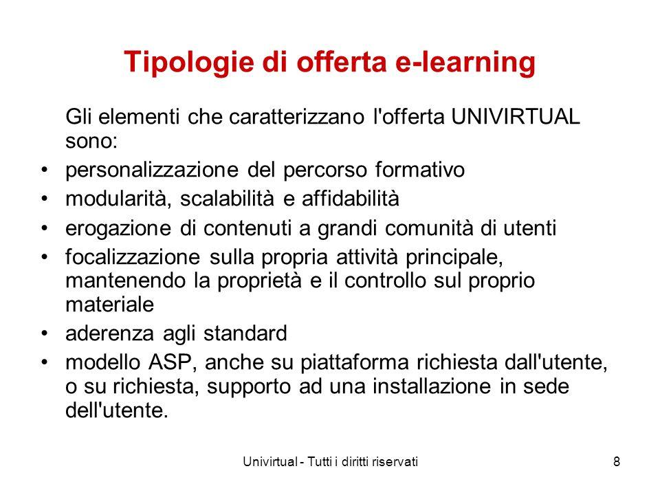 Univirtual - Tutti i diritti riservati8 Tipologie di offerta e-learning Gli elementi che caratterizzano l'offerta UNIVIRTUAL sono: personalizzazione d