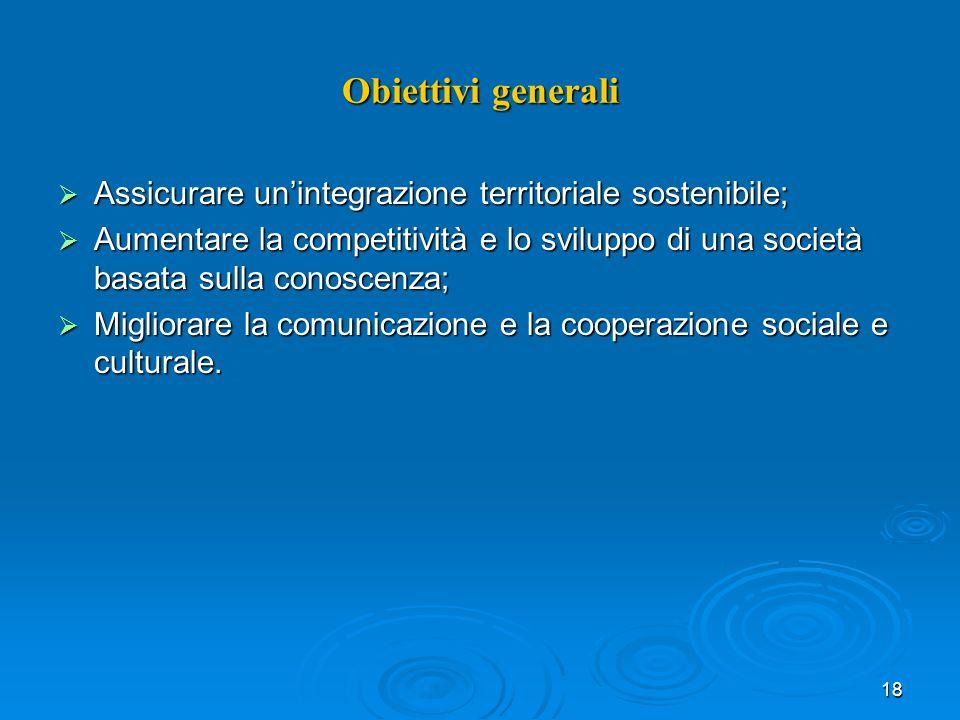 18 Obiettivi generali Assicurare unintegrazione territoriale sostenibile; Assicurare unintegrazione territoriale sostenibile; Aumentare la competitività e lo sviluppo di una società basata sulla conoscenza; Aumentare la competitività e lo sviluppo di una società basata sulla conoscenza; Migliorare la comunicazione e la cooperazione sociale e culturale.