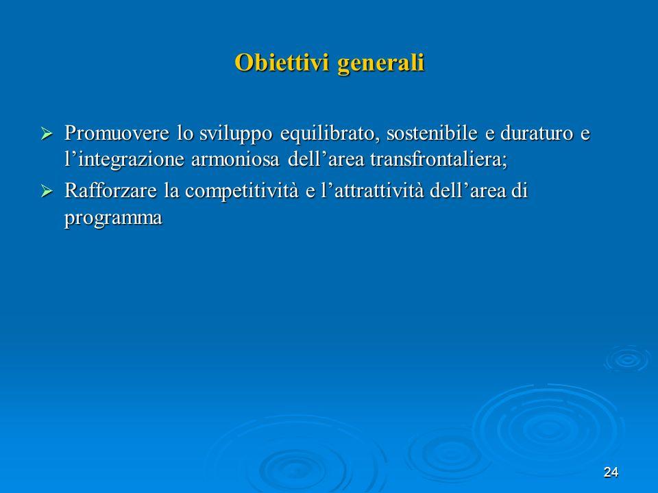 24 Obiettivi generali Promuovere lo sviluppo equilibrato, sostenibile e duraturo e lintegrazione armoniosa dellarea transfrontaliera; Promuovere lo sviluppo equilibrato, sostenibile e duraturo e lintegrazione armoniosa dellarea transfrontaliera; Rafforzare la competitività e lattrattività dellarea di programma Rafforzare la competitività e lattrattività dellarea di programma