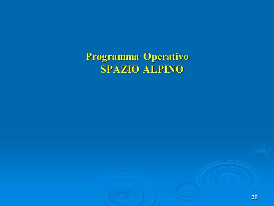38 Programma Operativo SPAZIO ALPINO