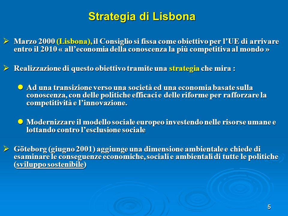 5 Strategia di Lisbona Marzo 2000 (Lisbona), il Consiglio si fissa come obiettivo per lUE di arrivare entro il 2010 « alleconomia della conoscenza la più competitiva al mondo » Marzo 2000 (Lisbona), il Consiglio si fissa come obiettivo per lUE di arrivare entro il 2010 « alleconomia della conoscenza la più competitiva al mondo » Realizzazione di questo obiettivo tramite una strategia che mira : Realizzazione di questo obiettivo tramite una strategia che mira : Ad una transizione verso una società ed una economia basate sulla conoscenza, con delle politiche efficaci e delle riforme per rafforzare la competitività e linnovazione.
