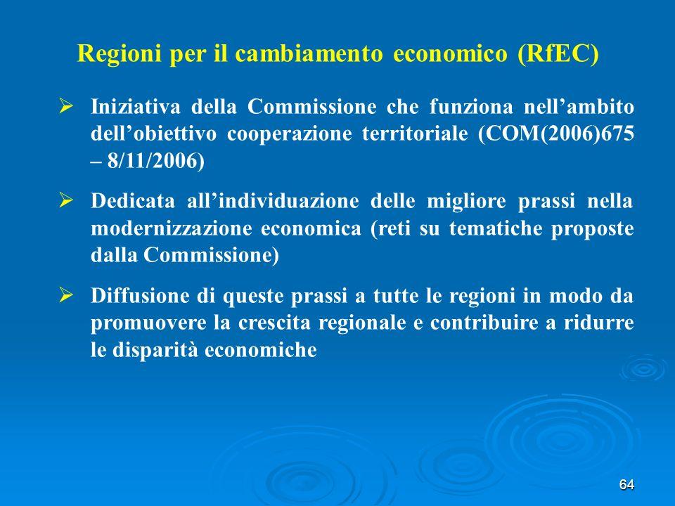 64 Regioni per il cambiamento economico (RfEC) Iniziativa della Commissione che funziona nellambito dellobiettivo cooperazione territoriale (COM(2006)675 – 8/11/2006) Dedicata allindividuazione delle migliore prassi nella modernizzazione economica (reti su tematiche proposte dalla Commissione) Diffusione di queste prassi a tutte le regioni in modo da promuovere la crescita regionale e contribuire a ridurre le disparità economiche