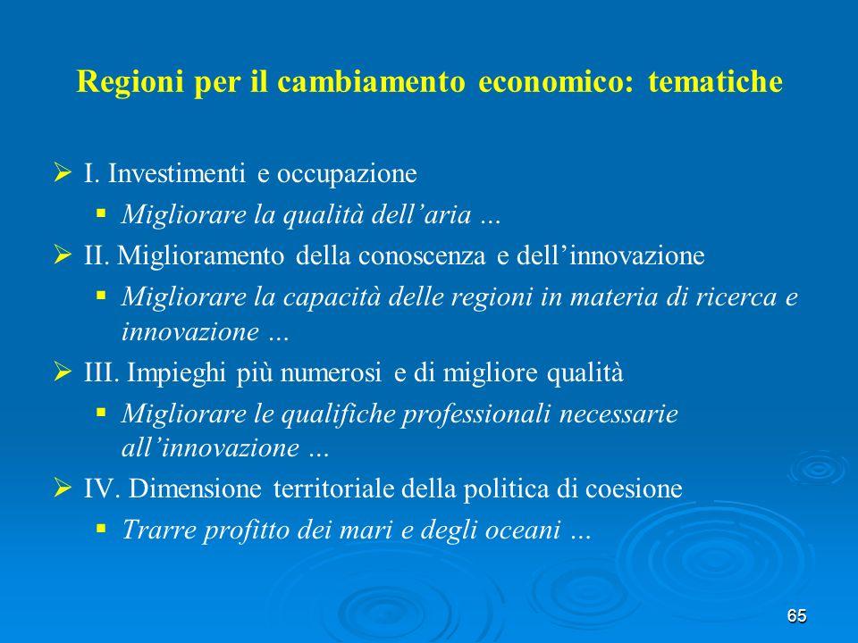 65 Regioni per il cambiamento economico: tematiche I.