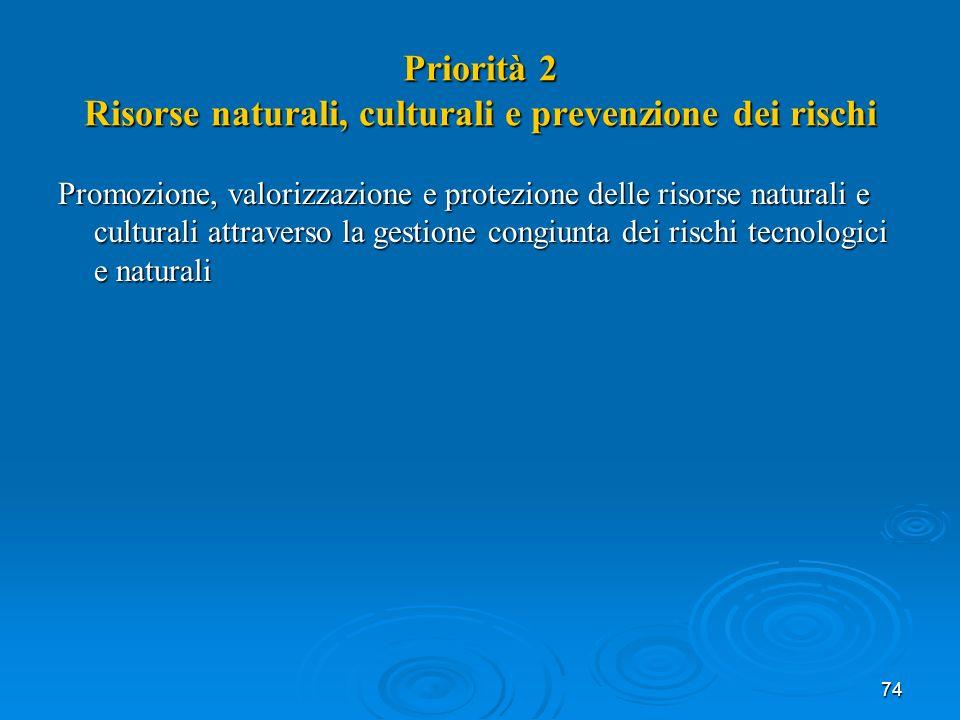 74 Priorità 2 Risorse naturali, culturali e prevenzione dei rischi Promozione, valorizzazione e protezione delle risorse naturali e culturali attraverso la gestione congiunta dei rischi tecnologici e naturali