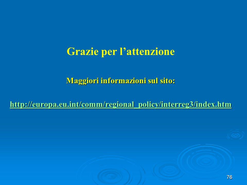 76 Grazie per lattenzione Maggiori informazioni sul sito: http://europa.eu.int/comm/regional_policy/interreg3/index.htm