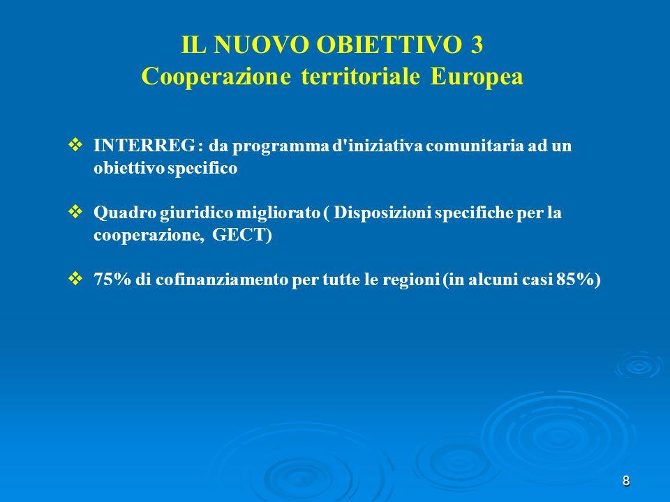 8 IL NUOVO OBIETTIVO 3 Cooperazione territoriale Europea INTERREG : da programma d iniziativa comunitaria ad un obiettivo specifico Quadro giuridico migliorato ( Disposizioni specifiche per la cooperazione, GECT) 75% di cofinanziamento per tutte le regioni (in alcuni casi 85%)