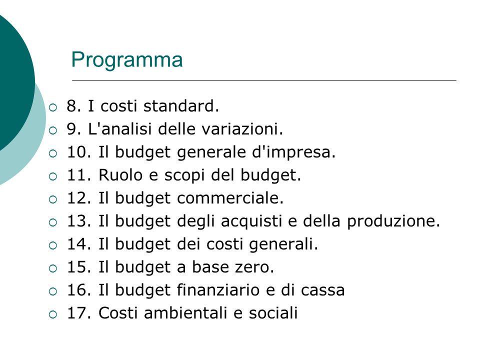 Programma 8.I costi standard. 9. L analisi delle variazioni.