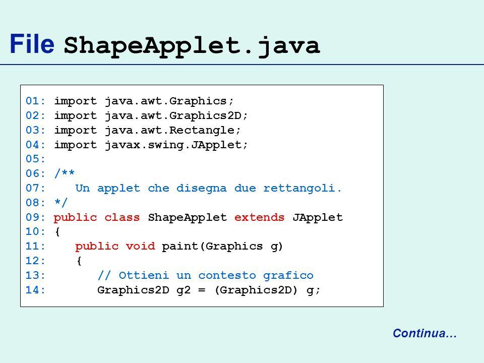 File ShapeApplet.java 01: import java.awt.Graphics; 02: import java.awt.Graphics2D; 03: import java.awt.Rectangle; 04: import javax.swing.JApplet; 05: