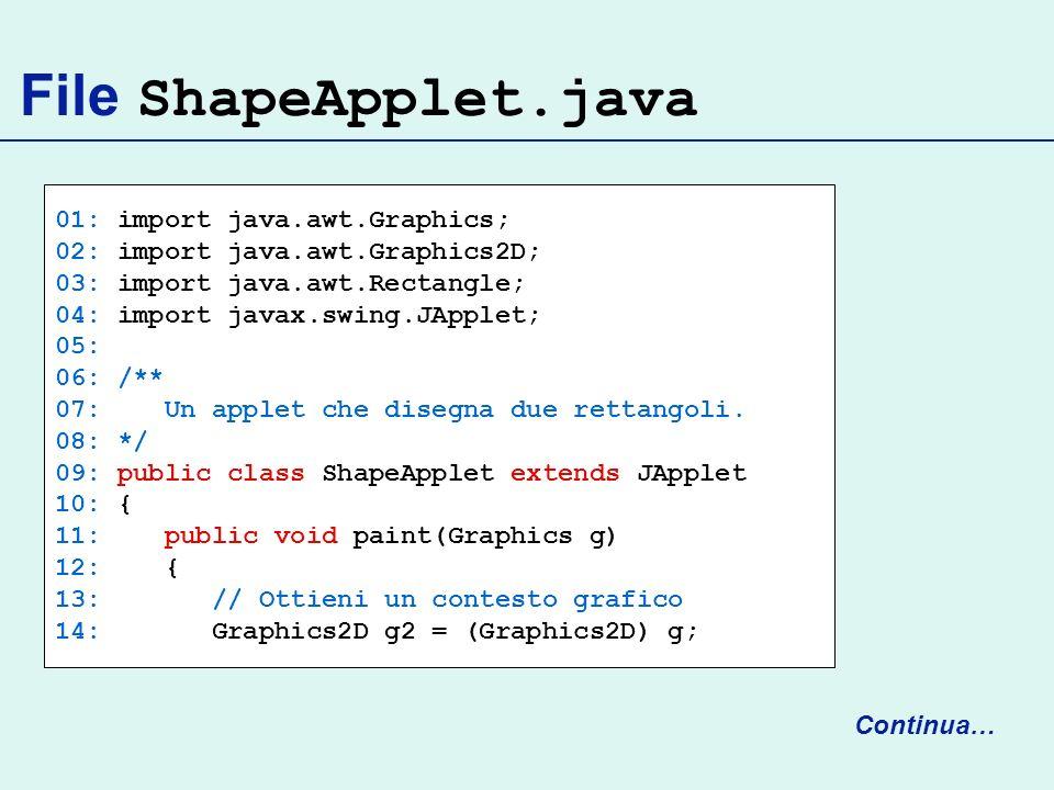 File ShapeApplet.java 01: import java.awt.Graphics; 02: import java.awt.Graphics2D; 03: import java.awt.Rectangle; 04: import javax.swing.JApplet; 05: 06: /** 07: Un applet che disegna due rettangoli.