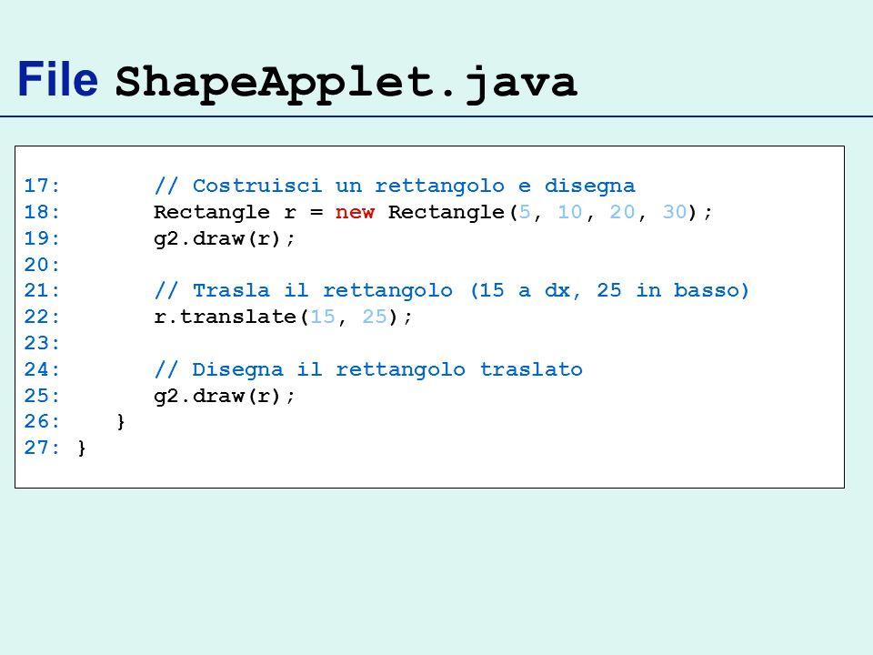 File ShapeApplet.java 17: // Costruisci un rettangolo e disegna 18: Rectangle r = new Rectangle(5, 10, 20, 30); 19: g2.draw(r); 20: 21: // Trasla il rettangolo (15 a dx, 25 in basso) 22: r.translate(15, 25); 23: 24: // Disegna il rettangolo traslato 25: g2.draw(r); 26: } 27: }