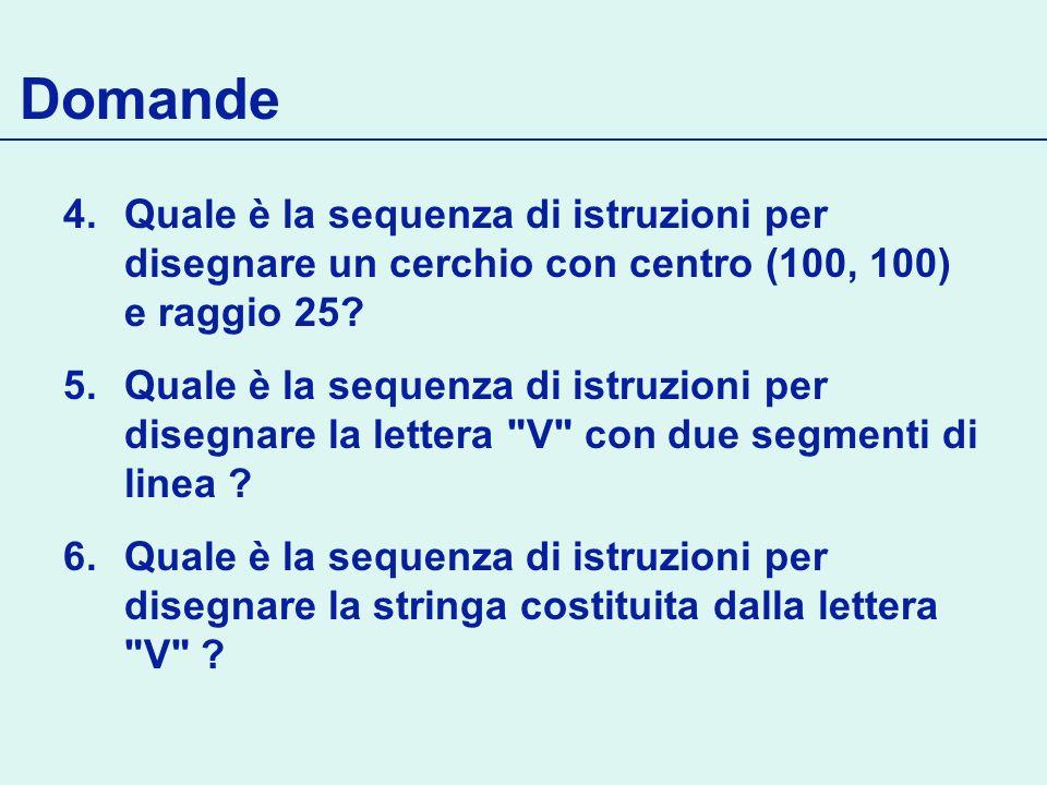 Domande 4.Quale è la sequenza di istruzioni per disegnare un cerchio con centro (100, 100) e raggio 25? 5.Quale è la sequenza di istruzioni per disegn
