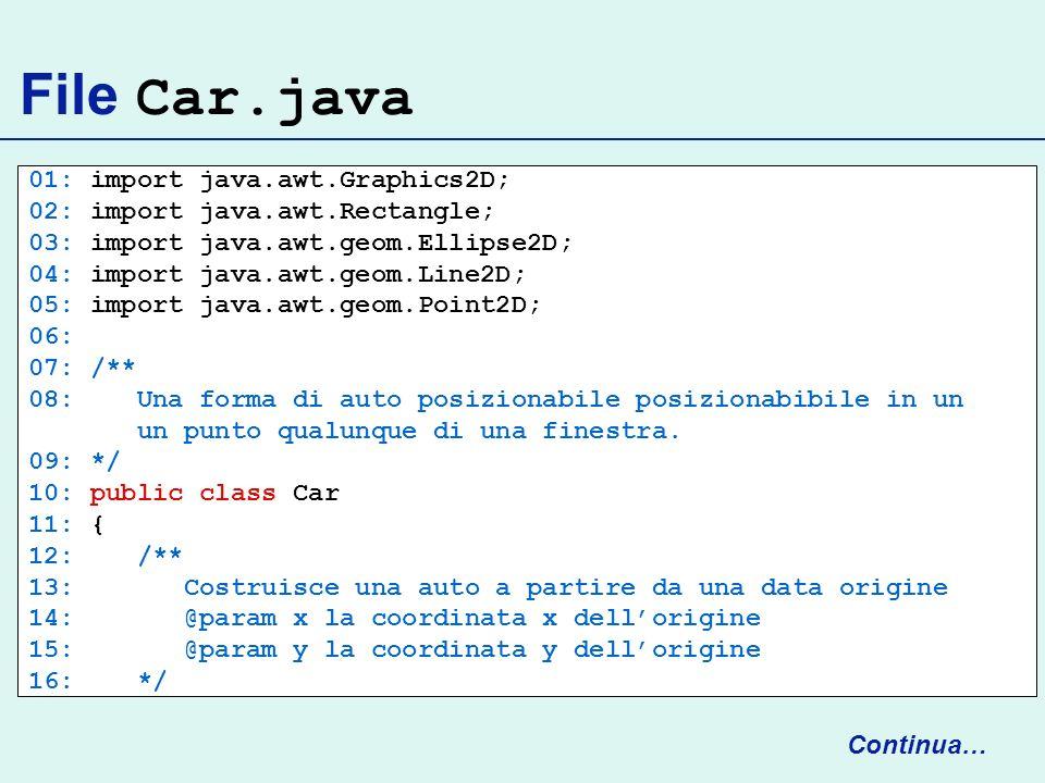 File Car.java 01: import java.awt.Graphics2D; 02: import java.awt.Rectangle; 03: import java.awt.geom.Ellipse2D; 04: import java.awt.geom.Line2D; 05: import java.awt.geom.Point2D; 06: 07: /** 08: Una forma di auto posizionabile posizionabibile in un un punto qualunque di una finestra.