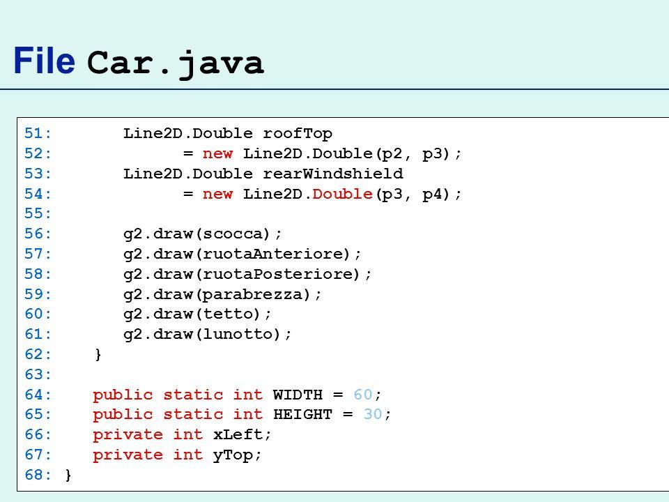 File Car.java 51: Line2D.Double roofTop 52: = new Line2D.Double(p2, p3); 53: Line2D.Double rearWindshield 54: = new Line2D.Double(p3, p4); 55: 56: g2.