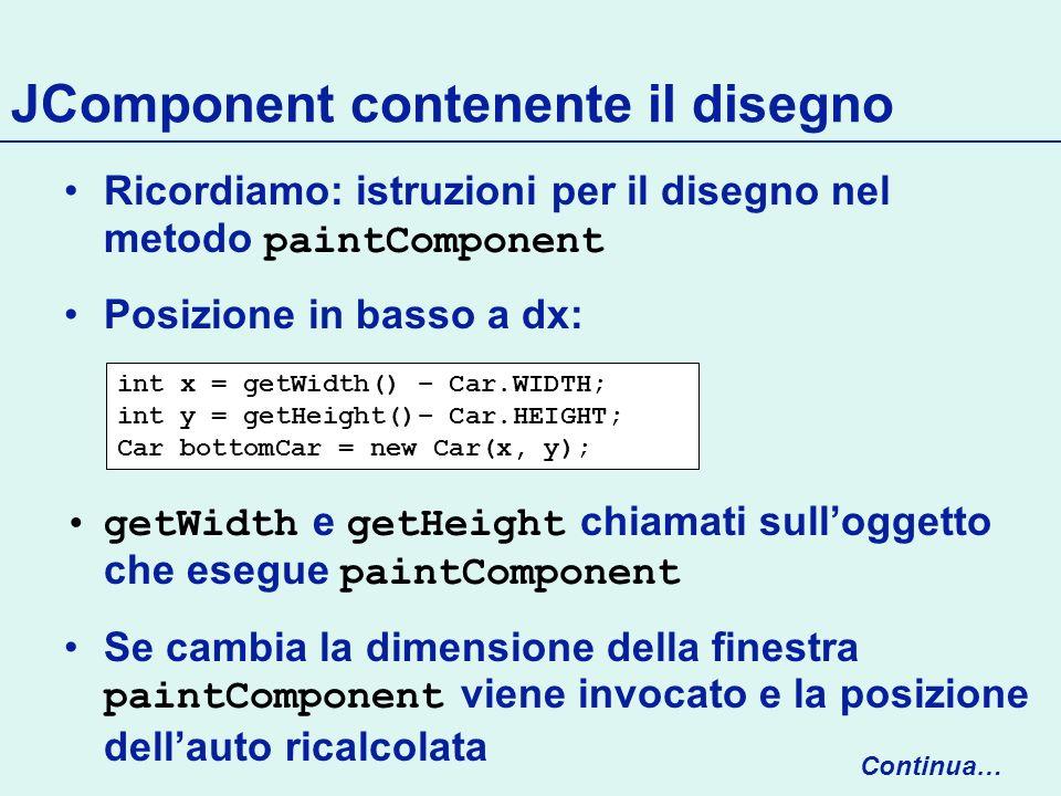 JComponent contenente il disegno Ricordiamo: istruzioni per il disegno nel metodo paintComponent Posizione in basso a dx: getWidth e getHeight chiamati sulloggetto che esegue paintComponent Se cambia la dimensione della finestra paintComponent viene invocato e la posizione dellauto ricalcolata int x = getWidth() – Car.WIDTH; int y = getHeight()– Car.HEIGHT; Car bottomCar = new Car(x, y); Continua…