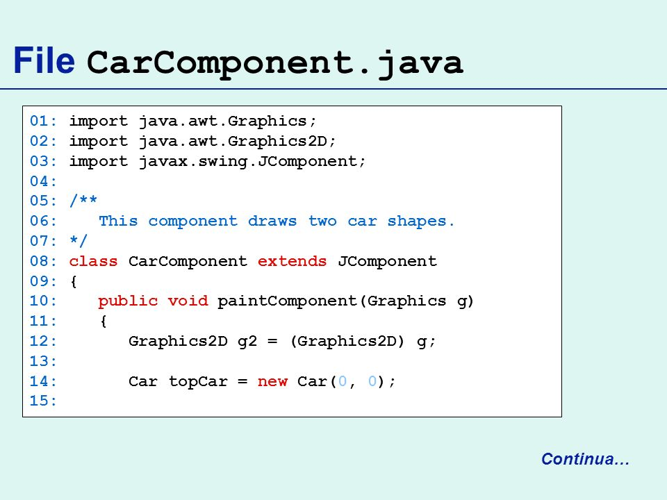 File CarComponent.java 01: import java.awt.Graphics; 02: import java.awt.Graphics2D; 03: import javax.swing.JComponent; 04: 05: /** 06: This component