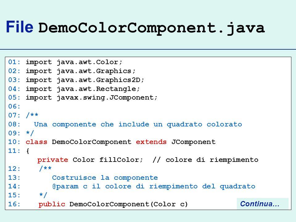 File DemoColorComponent.java 01: import java.awt.Color; 02: import java.awt.Graphics; 03: import java.awt.Graphics2D; 04: import java.awt.Rectangle; 05: import javax.swing.JComponent; 06: 07: /** 08: Una componente che include un quadrato colorato 09: */ 10: class DemoColorComponent extends JComponent 11: { private Color fillColor; // colore di riempimento 12: /** 13: Costruisce la componente 14: @param c il colore di riempimento del quadrato 15: */ 16: public DemoColorComponent(Color c) Continua…