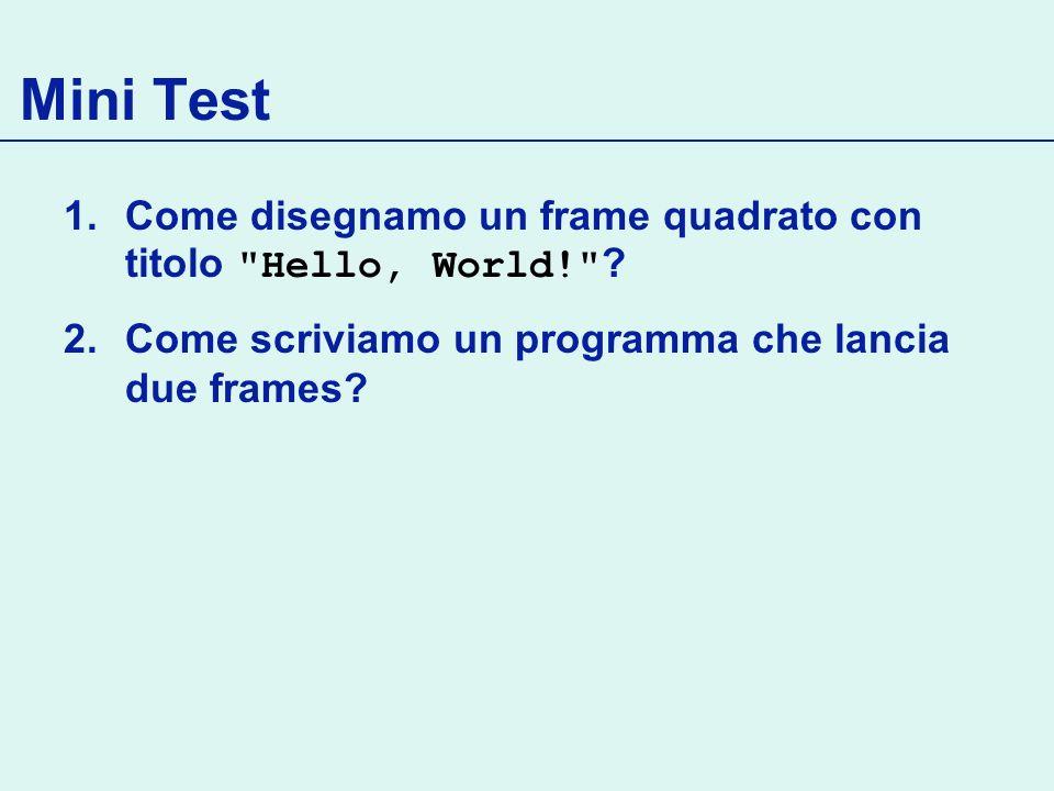 Mini Test 1.Come disegnamo un frame quadrato con titolo Hello, World! .