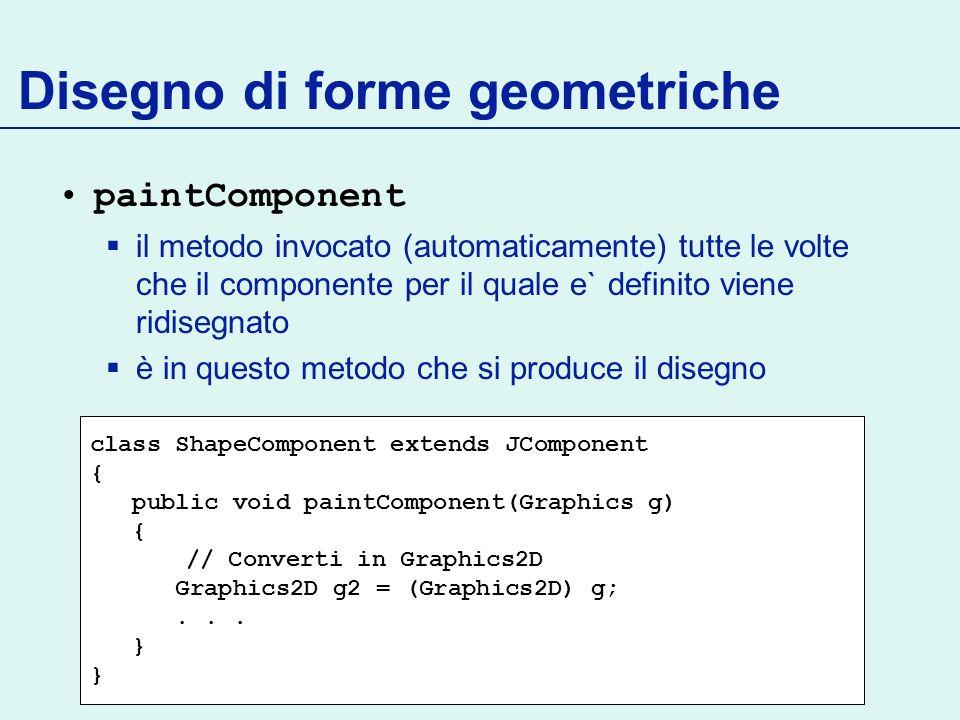 Disegno di forme geometriche paintComponent il metodo invocato (automaticamente) tutte le volte che il componente per il quale e` definito viene ridis