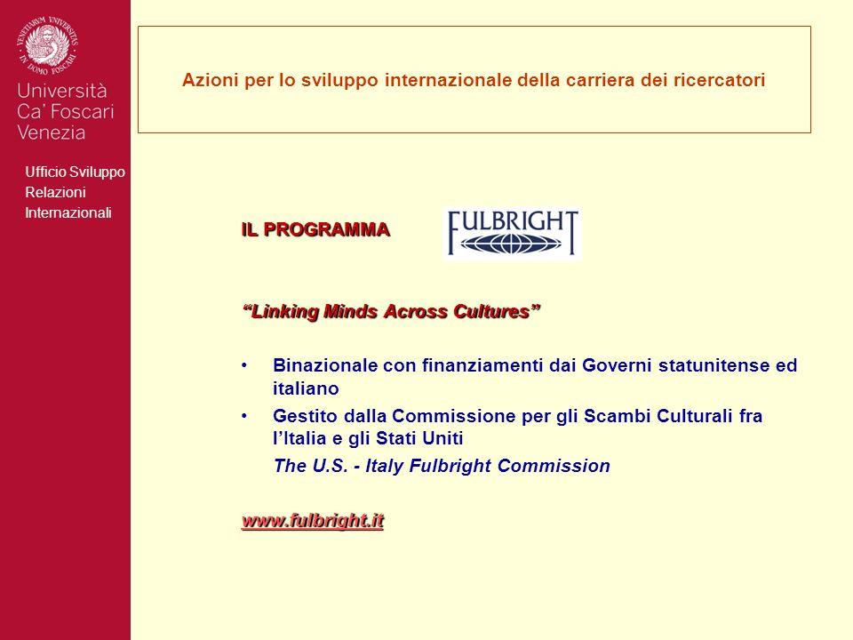 Ufficio Sviluppo Relazioni Internazionali Azioni per lo sviluppo internazionale della carriera dei ricercatori IL PROGRAMMA Linking Minds Across Cultu