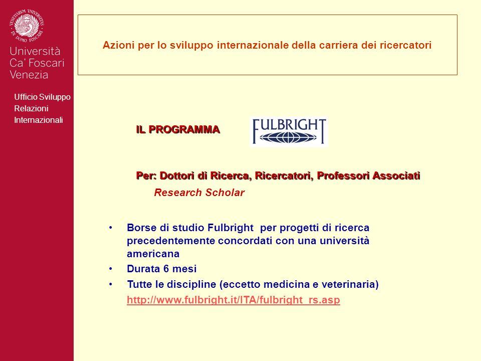 Ufficio Sviluppo Relazioni Internazionali Azioni per lo sviluppo internazionale della carriera dei ricercatori IL PROGRAMMA Per: Dottori di Ricerca, R
