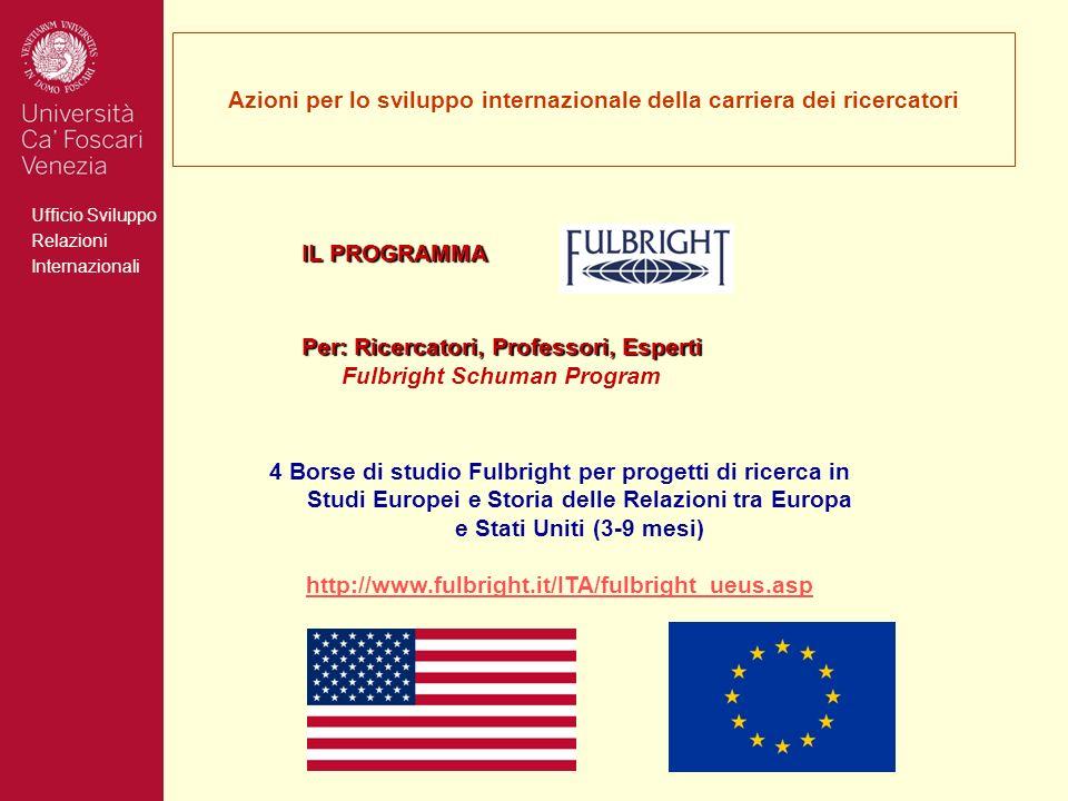 Ufficio Sviluppo Relazioni Internazionali Azioni per lo sviluppo internazionale della carriera dei ricercatori IL PROGRAMMA Per: Ricercatori, Professori, Esperti Per: Ricercatori, Professori, Esperti Fulbright Schuman Program 4 Borse di studio Fulbright per progetti di ricerca in Studi Europei e Storia delle Relazioni tra Europa e Stati Uniti (3-9 mesi) http://www.fulbright.it/ITA/fulbright_ueus.asp