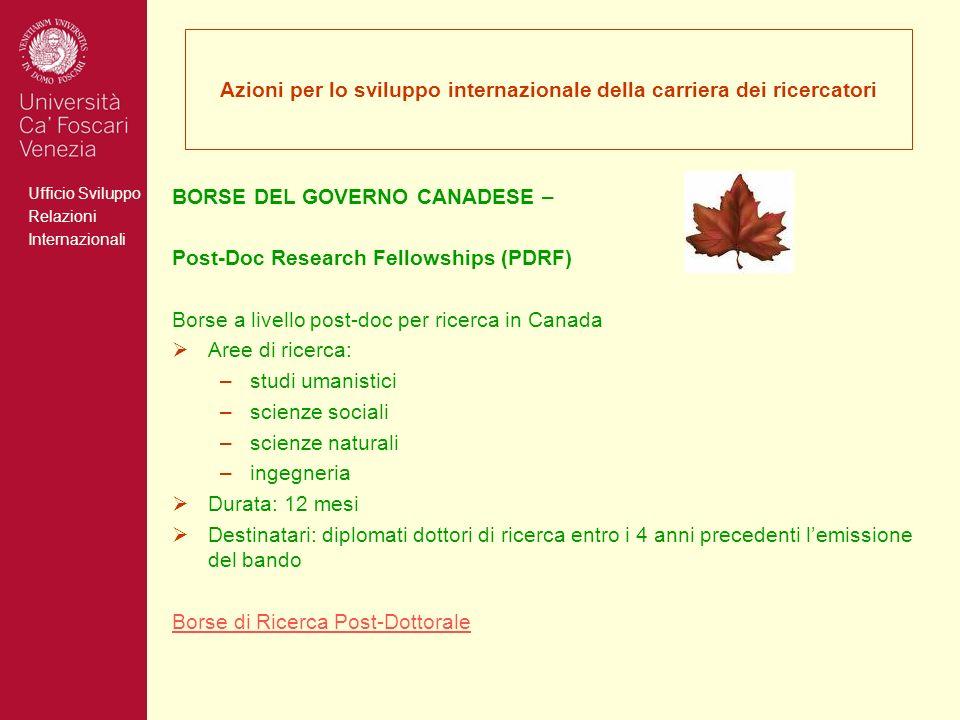Ufficio Sviluppo Relazioni Internazionali Azioni per lo sviluppo internazionale della carriera dei ricercatori BORSE DEL GOVERNO CANADESE – Post-Doc R