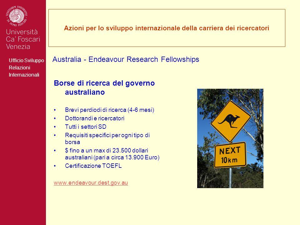 Ufficio Sviluppo Relazioni Internazionali Azioni per lo sviluppo internazionale della carriera dei ricercatori Borse di ricerca del governo australian