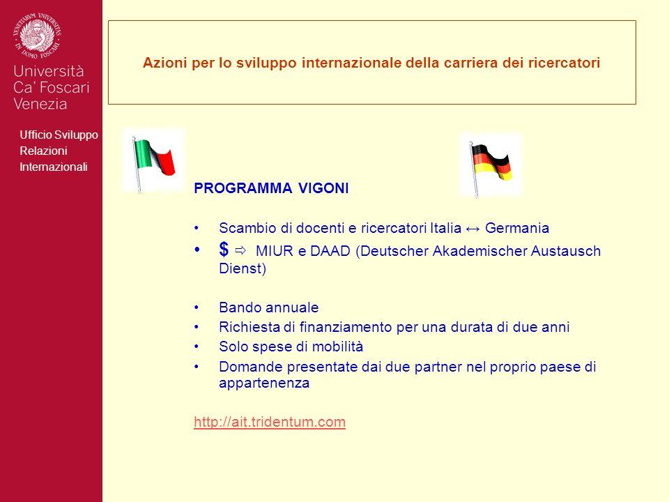 Ufficio Sviluppo Relazioni Internazionali Azioni per lo sviluppo internazionale della carriera dei ricercatori PROGRAMMA VIGONI Scambio di docenti e r
