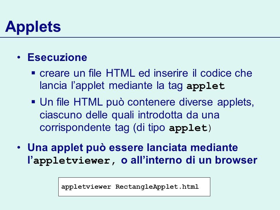 Applets Esecuzione creare un file HTML ed inserire il codice che lancia lapplet mediante la tag applet Un file HTML può contenere diverse applets, cia