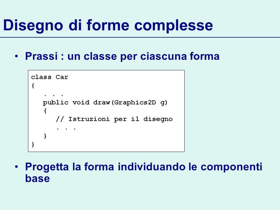 Disegno di forme complesse Prassi : un classe per ciascuna forma Progetta la forma individuando le componenti base class Car {... public void draw(Gra