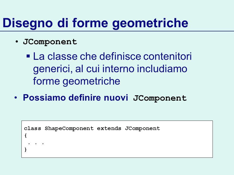 Disegno di forme geometriche JComponent La classe che definisce contenitori generici, al cui interno includiamo forme geometriche Possiamo definire nu