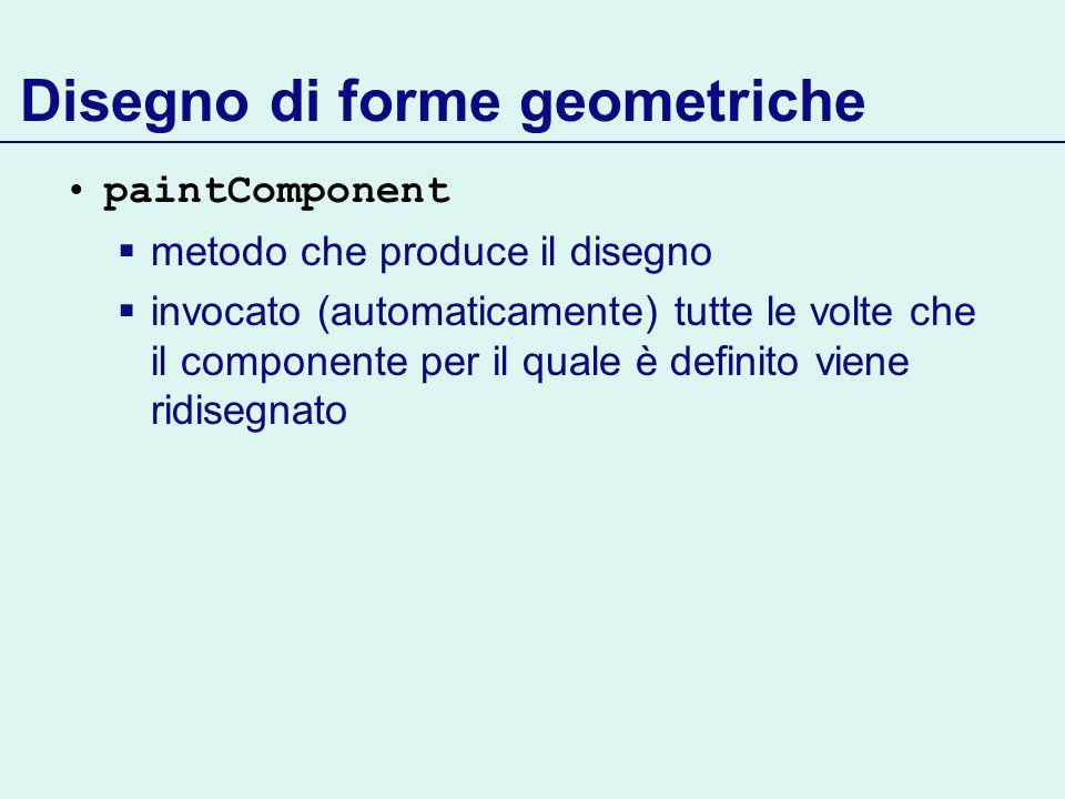 Disegno di forme geometriche paintComponent metodo che produce il disegno invocato (automaticamente) tutte le volte che il componente per il quale è d