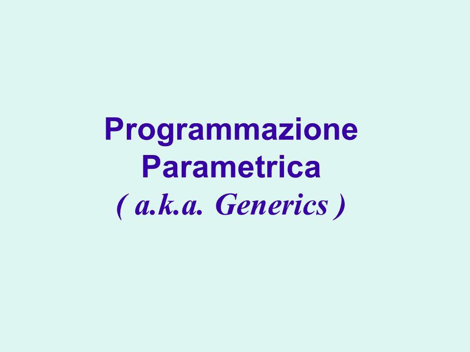 Introduzione ai meccanismi e concetti della programmazione parametrica Generics e relationi di sottotipo wildcards generics e vincoli Implementazione di classi e metodi parametrici Supporto per i generics nella JVM