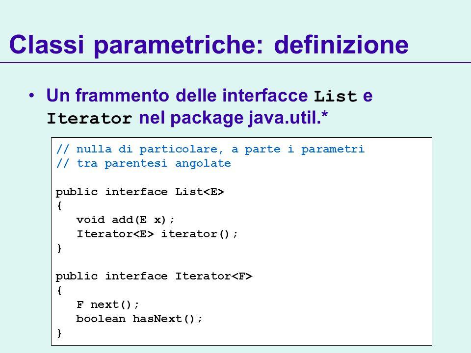 Classi parametriche: definizione // nulla di particolare, a parte i parametri // tra parentesi angolate public interface List { void add(E x); Iterator iterator(); } public interface Iterator { F next(); boolean hasNext(); } Un frammento delle interfacce List e Iterator nel package java.util.*