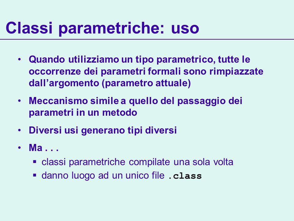 Classi parametriche: uso Quando utilizziamo un tipo parametrico, tutte le occorrenze dei parametri formali sono rimpiazzate dallargomento (parametro attuale) Meccanismo simile a quello del passaggio dei parametri in un metodo Diversi usi generano tipi diversi Ma...