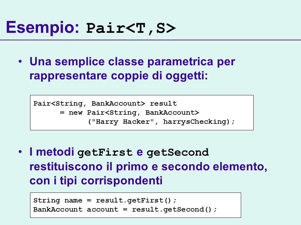 Esempio: Pair Una semplice classe parametrica per rappresentare coppie di oggetti: I metodi getFirst e getSecond restituiscono il primo e secondo elemento, con i tipi corrispondenti Pair result = new Pair ( Harry Hacker , harrysChecking); String name = result.getFirst(); BankAccount account = result.getSecond();