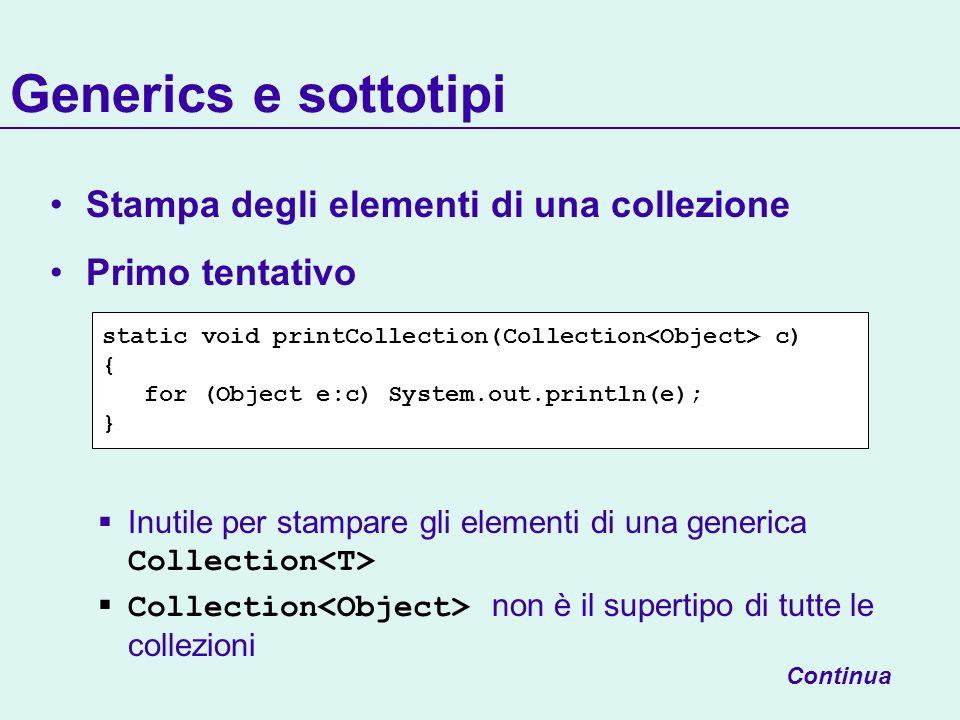 Generics e sottotipi Stampa degli elementi di una collezione Primo tentativo Inutile per stampare gli elementi di una generica Collection Collection non è il supertipo di tutte le collezioni Continua static void printCollection(Collection c) { for (Object e:c) System.out.println(e); }