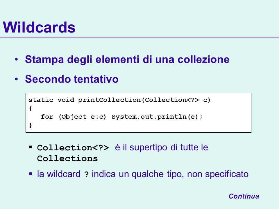 Wildcards Stampa degli elementi di una collezione Secondo tentativo Collection è il supertipo di tutte le Collections la wildcard .