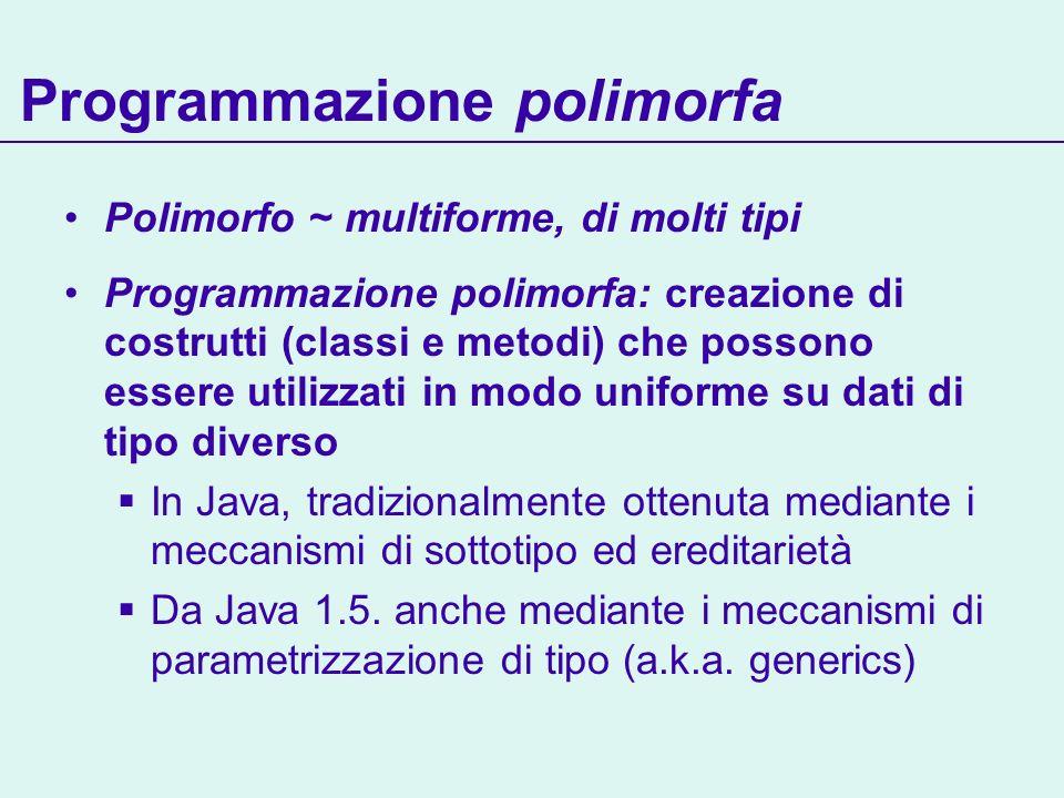 Programmazione polimorfa Polimorfo ~ multiforme, di molti tipi Programmazione polimorfa: creazione di costrutti (classi e metodi) che possono essere utilizzati in modo uniforme su dati di tipo diverso In Java, tradizionalmente ottenuta mediante i meccanismi di sottotipo ed ereditarietà Da Java 1.5.