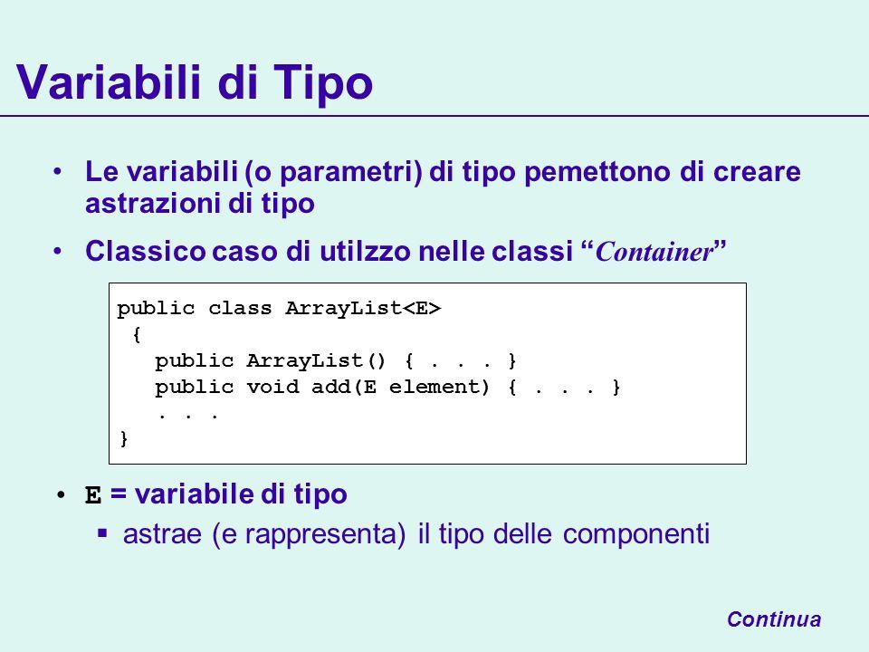 Variabili di Tipo Le variabili (o parametri) di tipo pemettono di creare astrazioni di tipo Classico caso di utilzzo nelle classi Container E = variabile di tipo astrae (e rappresenta) il tipo delle componenti public class ArrayList { public ArrayList() {...